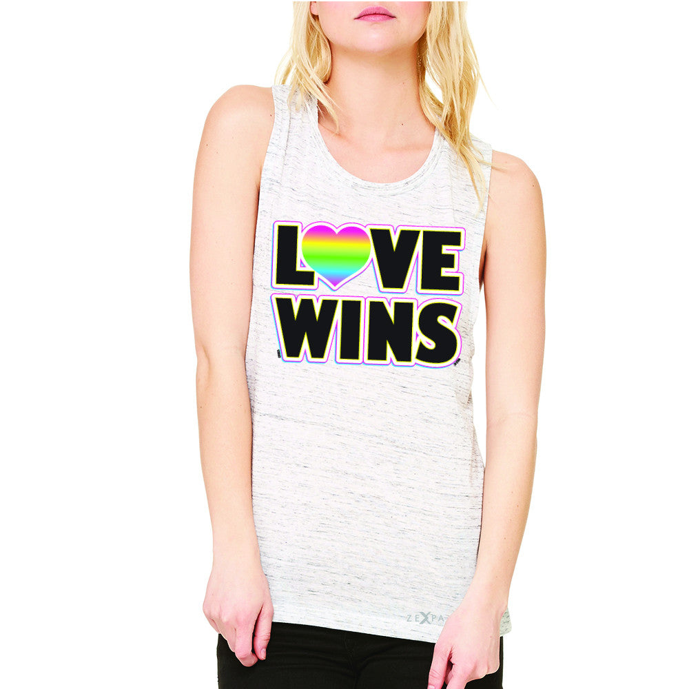 Love Wins - Love is Love Gay is Good Women's Muscle Tee Gay Pride Sleeveless - Zexpa Apparel - 5