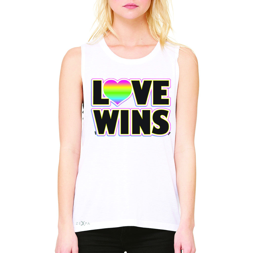 Love Wins - Love is Love Gay is Good Women's Muscle Tee Gay Pride Sleeveless - Zexpa Apparel - 6