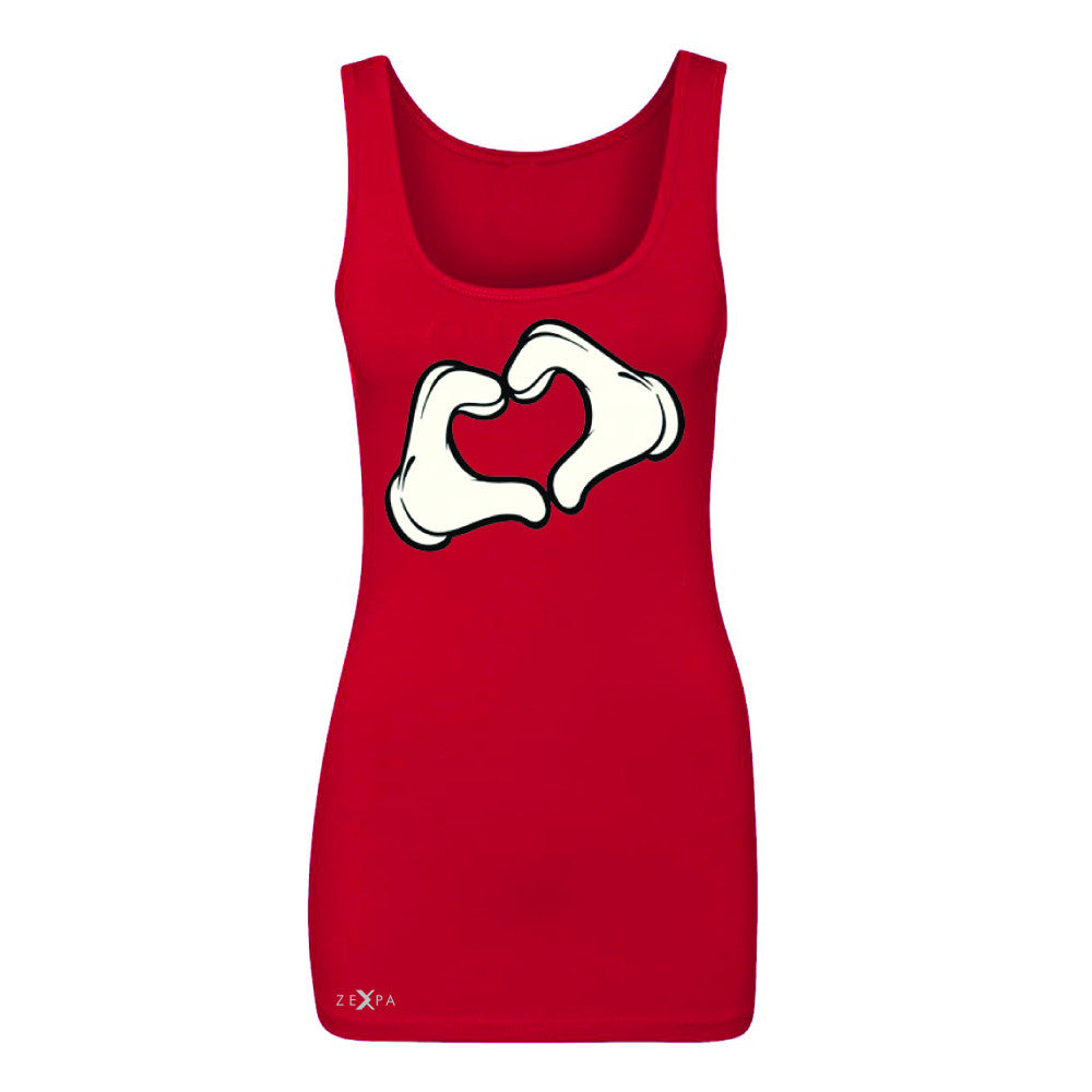 Cartoon Hands Heart Showing Women's Tank Top Humor Sleeveless - Zexpa Apparel Halloween Christmas Shirts