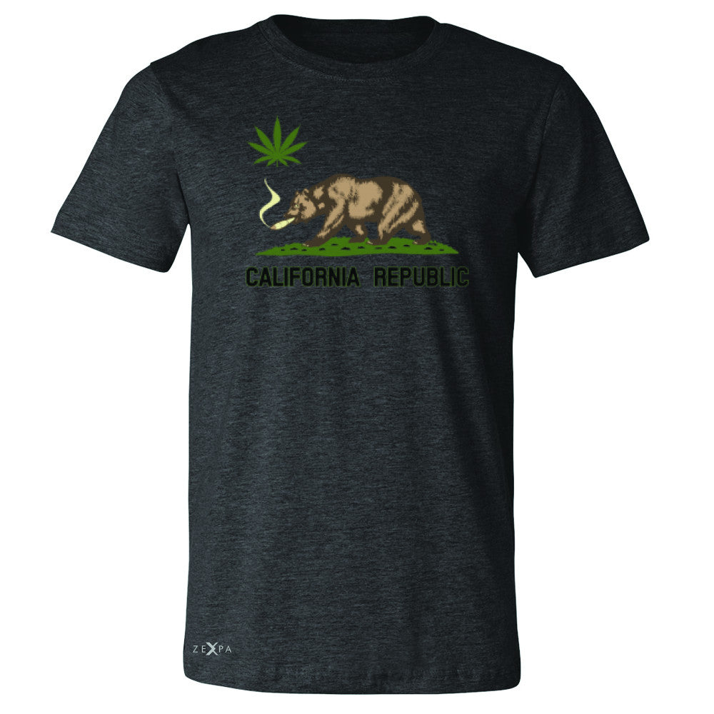 California Bear Weed Smoker Joint Men's T-shirt Fun Humor Tee - Zexpa Apparel Halloween Christmas Shirts