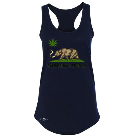 California Bear Weed Smoker Joint Women's Racerback Fun Humor Sleeveless - Zexpa Apparel Halloween Christmas Shirts