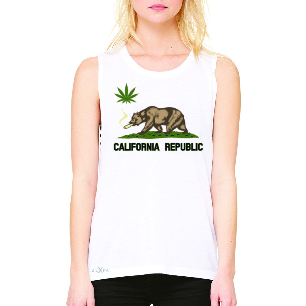 California Bear Weed Smoker Joint Women's Muscle Tee Fun Humor Sleeveless - Zexpa Apparel Halloween Christmas Shirts