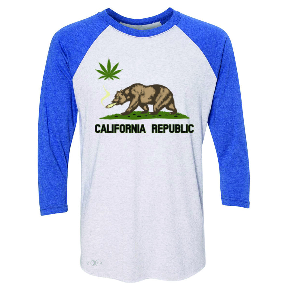 California Bear Weed Smoker Joint 3/4 Sleevee Raglan Tee Fun Humor Tee - Zexpa Apparel Halloween Christmas Shirts