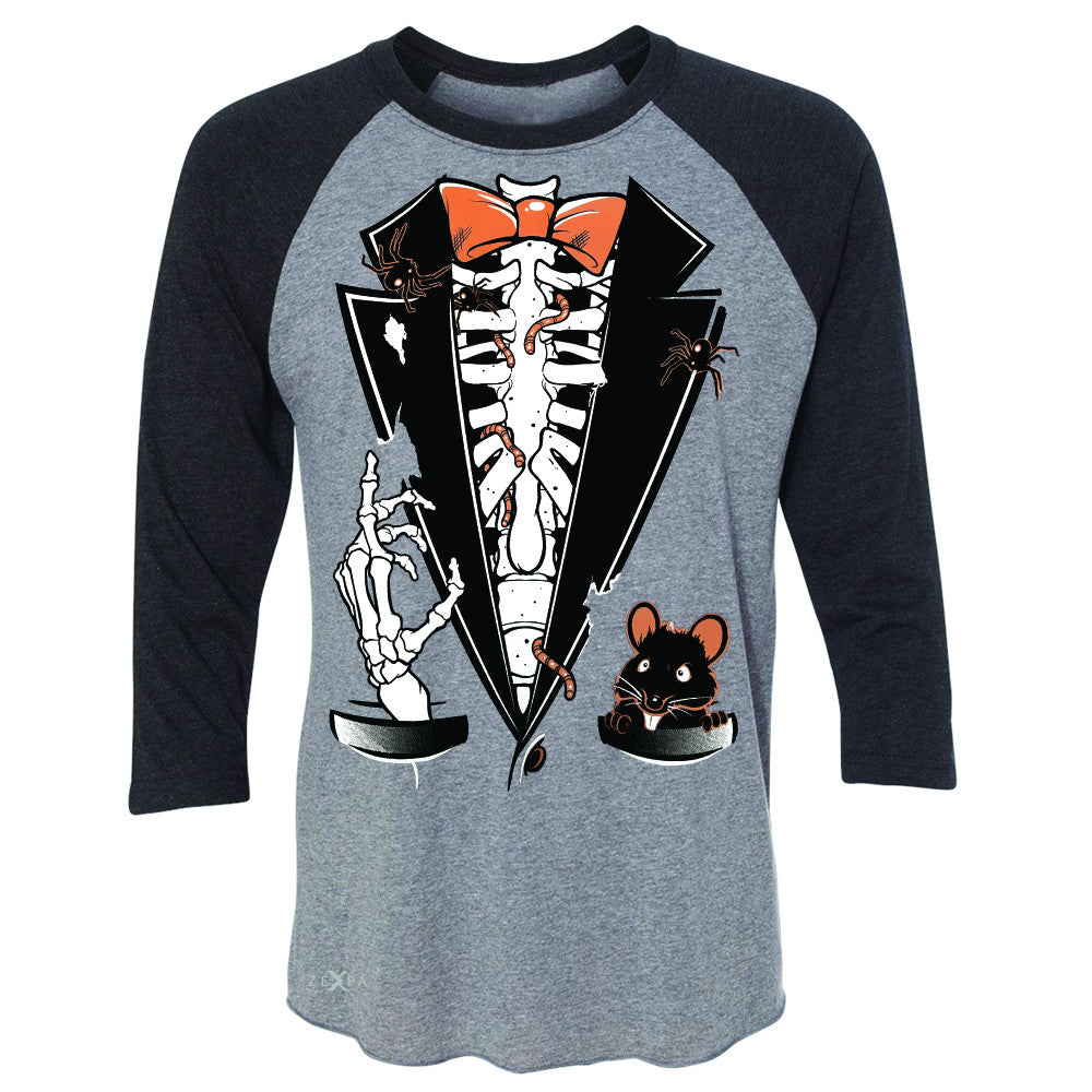 Rib Cage Skeleton Tuxedo 3/4 Sleevee Raglan Tee Halloween Costume Tee - Zexpa Apparel - 1
