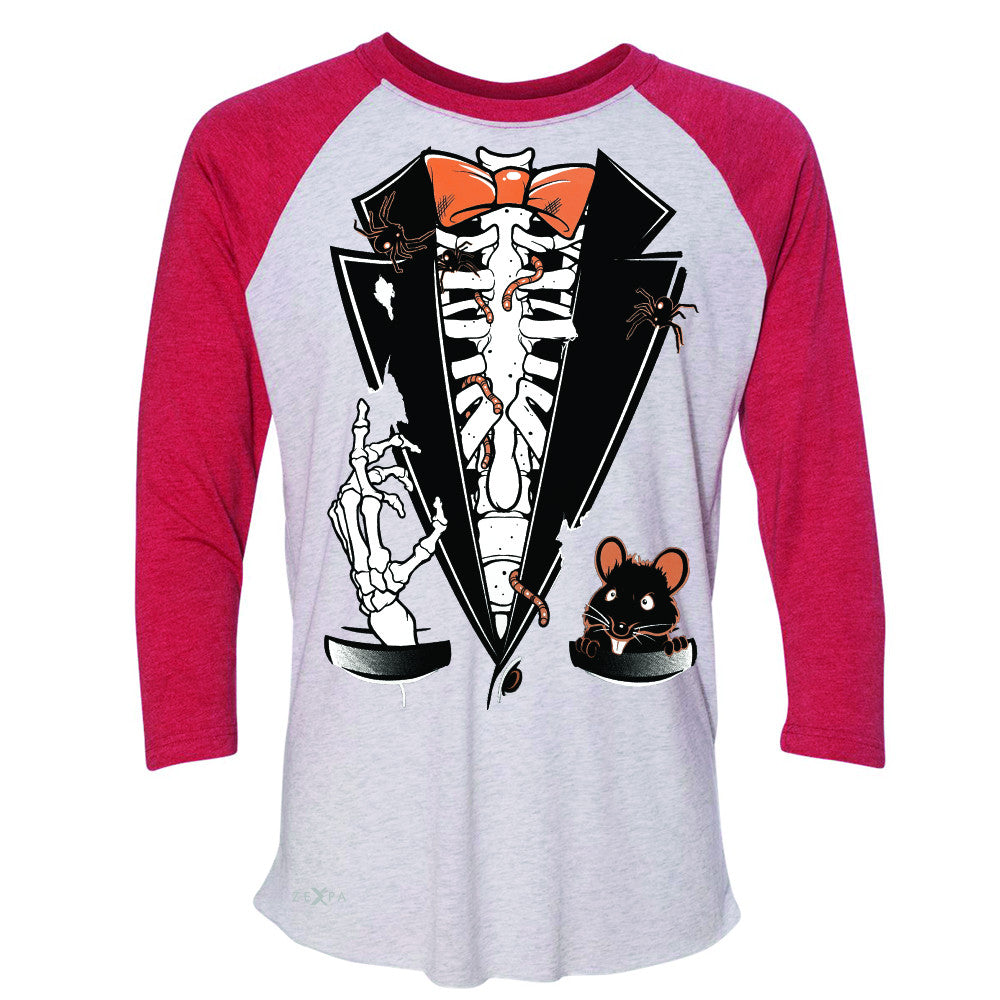 Rib Cage Skeleton Tuxedo 3/4 Sleevee Raglan Tee Halloween Costume Tee - Zexpa Apparel - 2