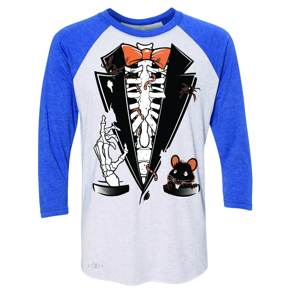 Rib Cage Skeleton Tuxedo 3/4 Sleevee Raglan Tee Halloween Costume Tee - Zexpa Apparel - 3