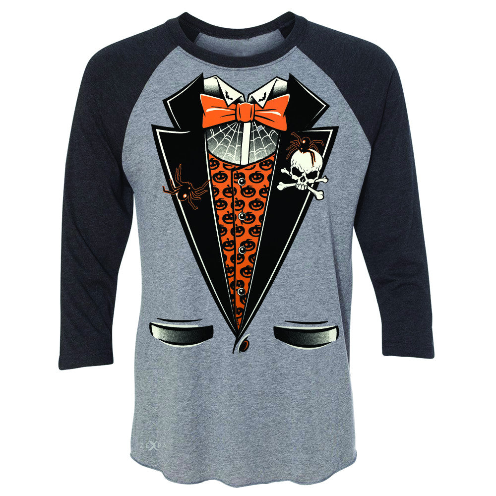 Halloween Vampire Smokin Tuxedo 3/4 Sleevee Raglan Tee Cool Costume Tee - Zexpa Apparel - 1