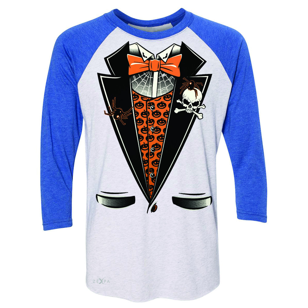 Halloween Vampire Smokin Tuxedo 3/4 Sleevee Raglan Tee Cool Costume Tee - Zexpa Apparel - 3