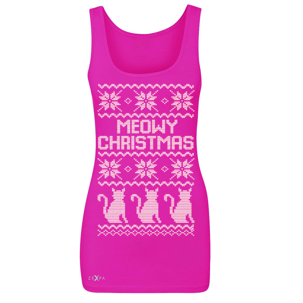 Zexpa Apparel™ Meowy Christmas Snow Flakes Cool Women's Tank Top Ugly Sweater Sleeveless - Zexpa Apparel Halloween Christmas Shirts