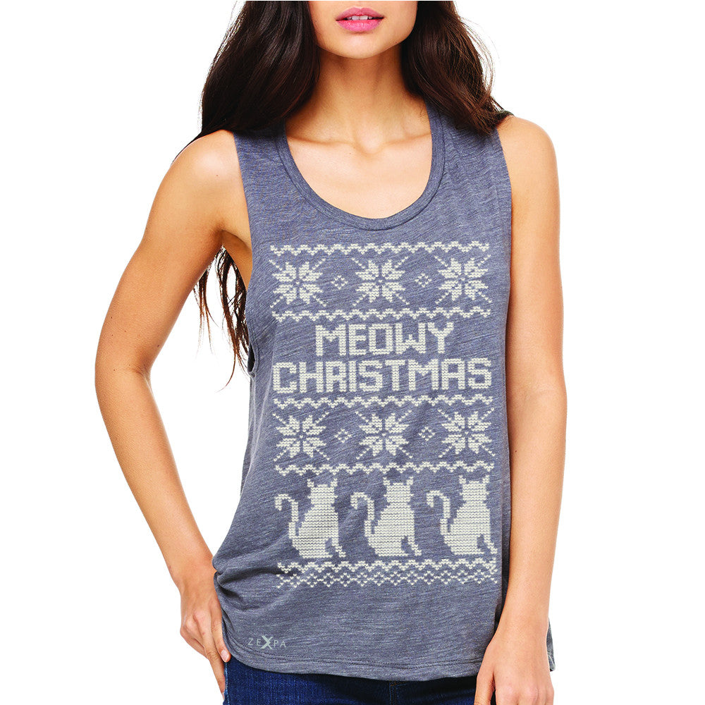 Zexpa Apparel™ Meowy Christmas Snow Flakes Cool Women's Muscle Tee Ugly Sweater Sleeveless - Zexpa Apparel Halloween Christmas Shirts