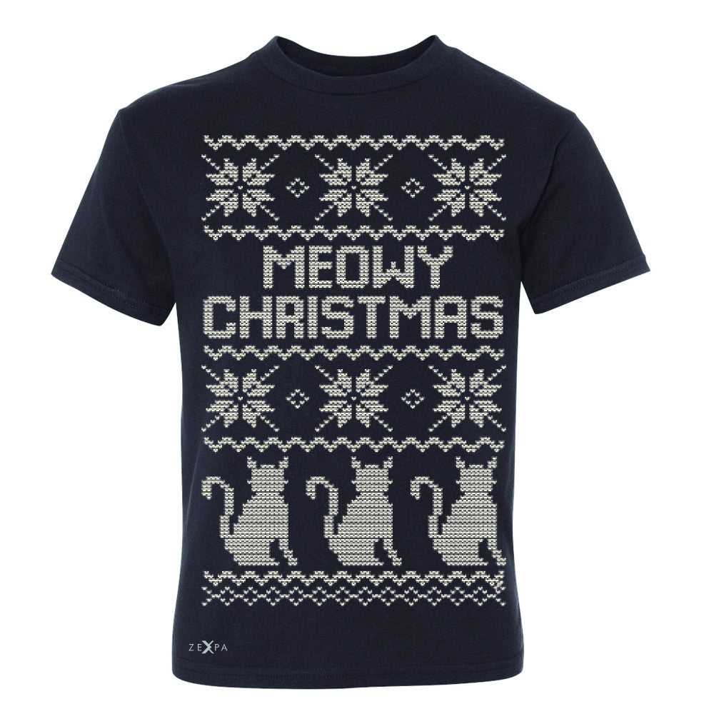 Zexpa Apparel™ Meowy Christmas Snow Flakes Cool Youth T-shirt Ugly Sweater Tee - Zexpa Apparel Halloween Christmas Shirts