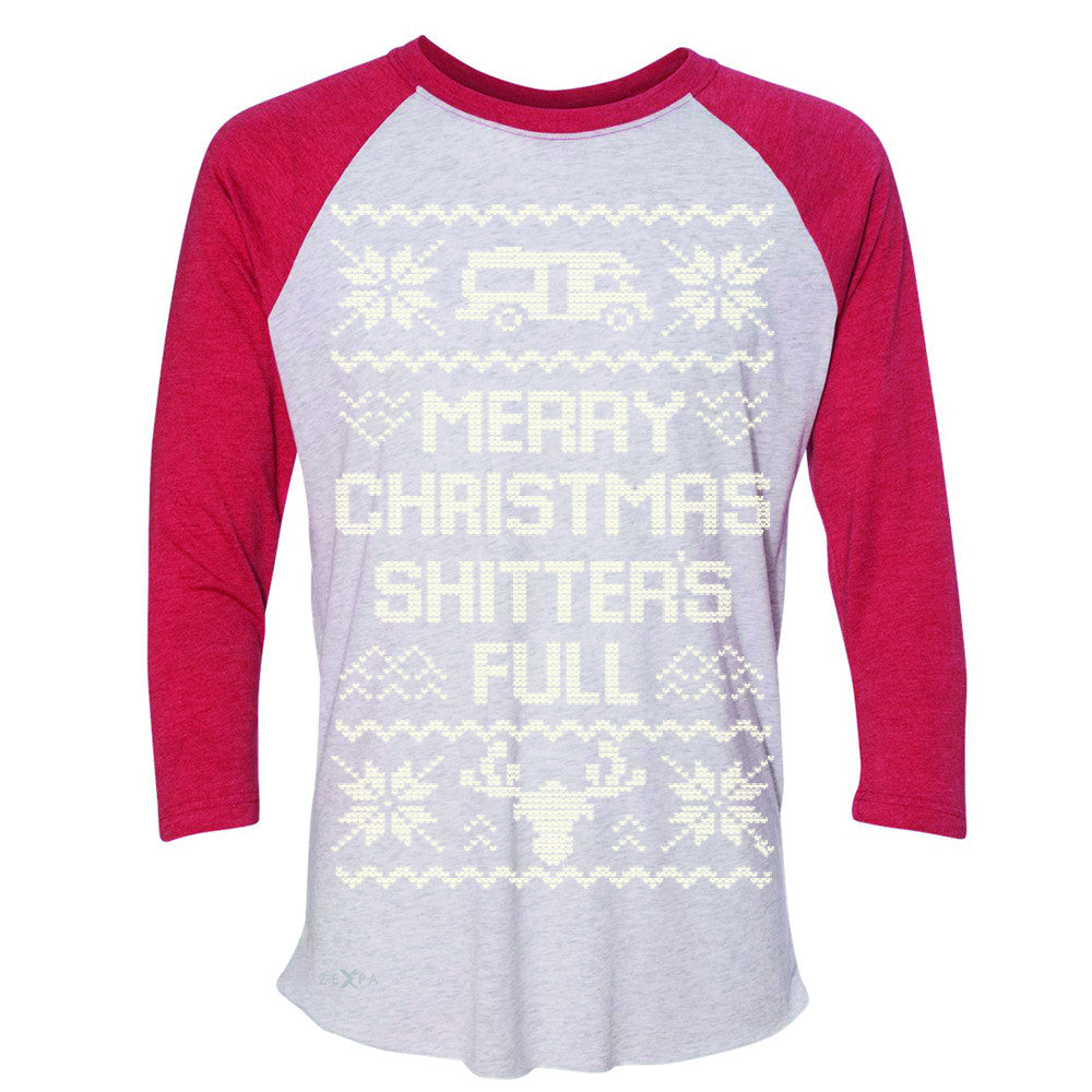 Zexpa Apparel™ Merry Christmas Shitter's Full 3/4 Sleevee Raglan Tee Ugly Sweater Fame Tee - Zexpa Apparel Halloween Christmas Shirts