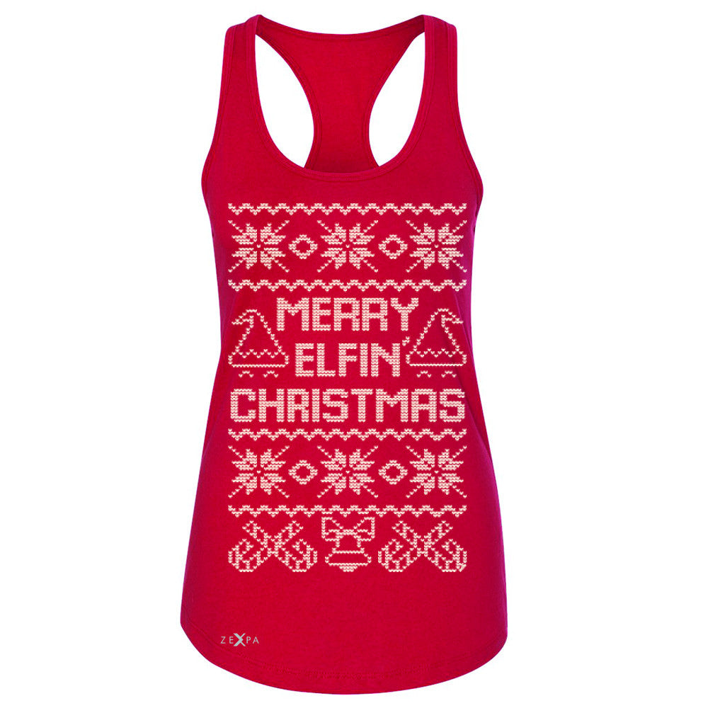 Zexpa Apparel™ Merry Elfin Christmas  Women's Racerback Ugly Sweater Tradition Sleeveless - Zexpa Apparel Halloween Christmas Shirts