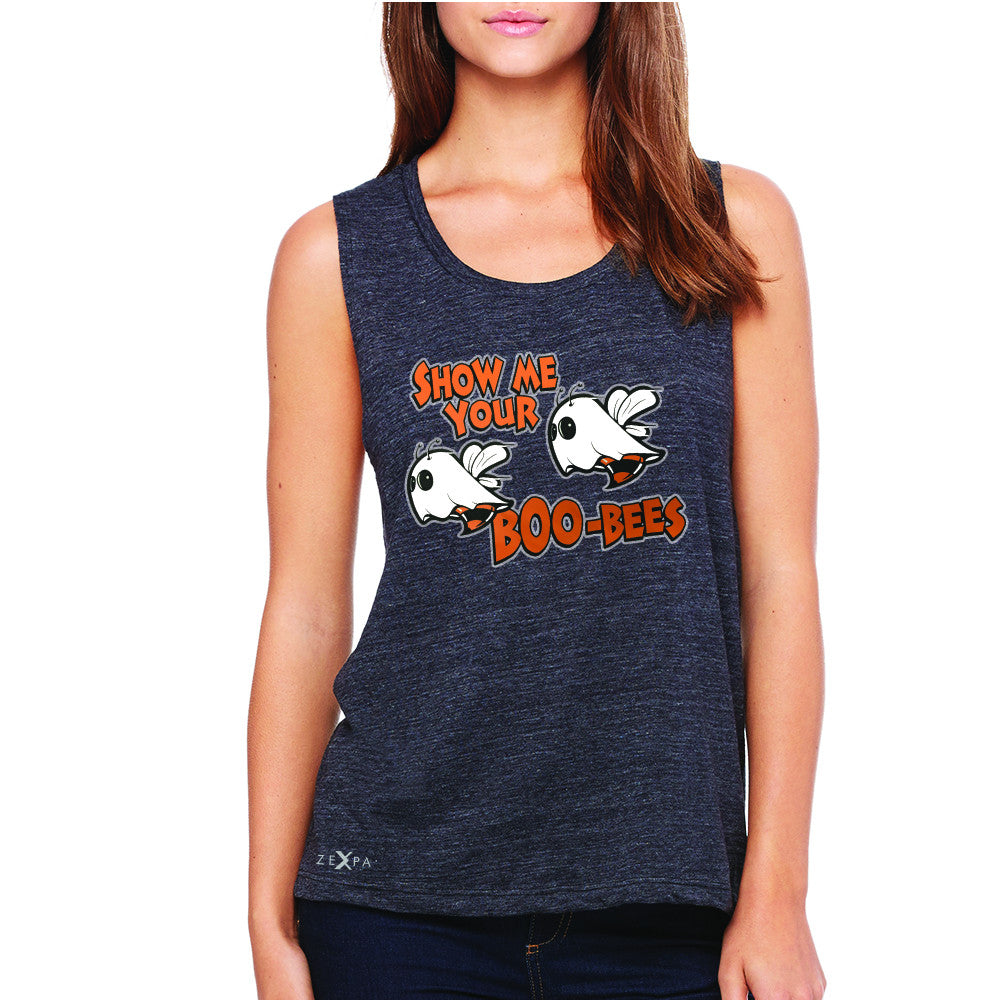 Show Me Your Boo-Bees Ghost  Women's Muscle Tee Halloween Costume Sleeveless - Zexpa Apparel - 1