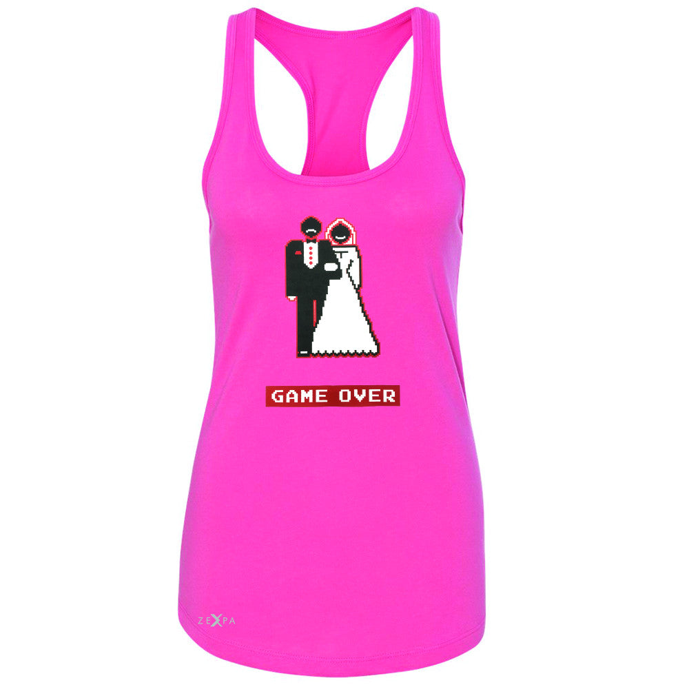 Game Over Wedding Married Video Game Women's Racerback Funny Gift Sleeveless - Zexpa Apparel - 2
