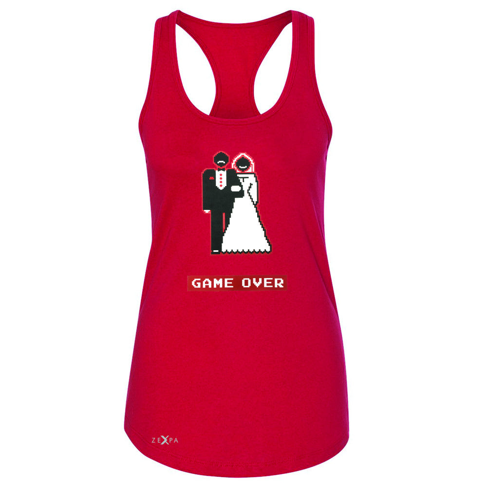 Game Over Wedding Married Video Game Women's Racerback Funny Gift Sleeveless - Zexpa Apparel - 3