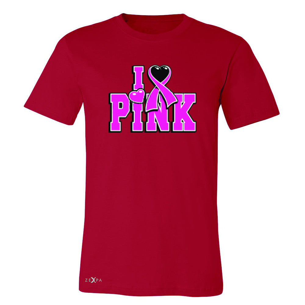 I Love Pink - Pink Heart Ribbon Men's T-shirt Breast Cancer Tee - Zexpa Apparel - 5