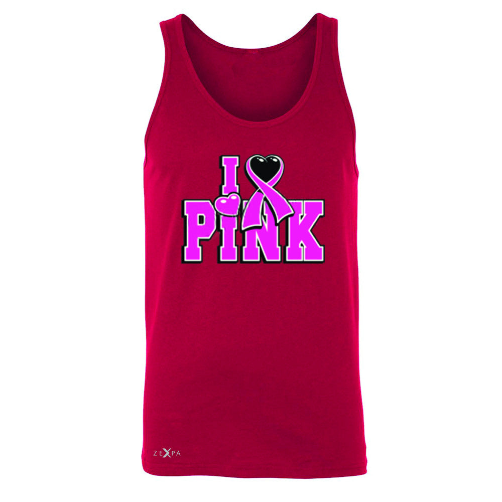 I Love Pink - Pink Heart Ribbon Men's Jersey Tank Breast Cancer Sleeveless - Zexpa Apparel - 4
