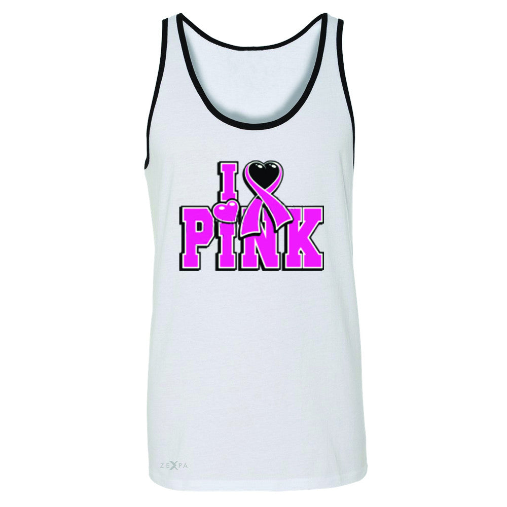 I Love Pink - Pink Heart Ribbon Men's Jersey Tank Breast Cancer Sleeveless - Zexpa Apparel - 6