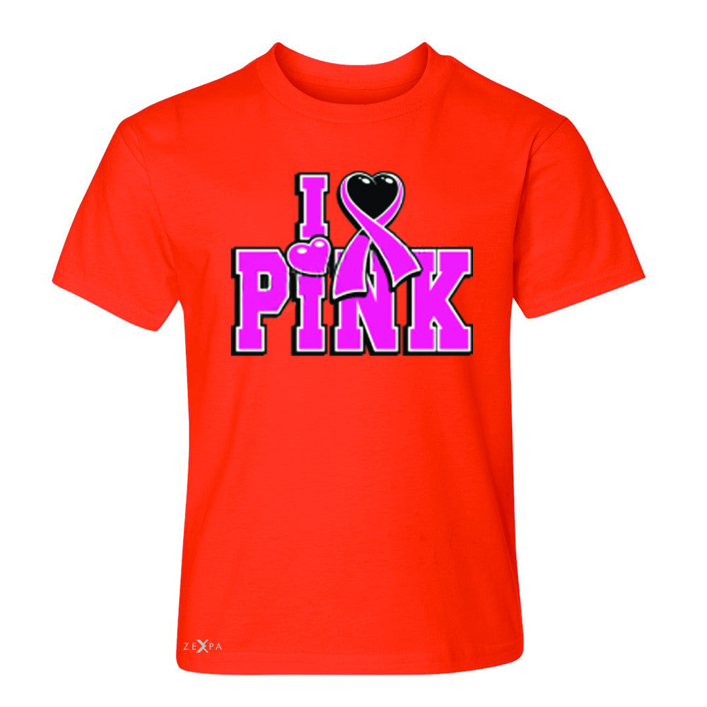 I Love Pink - Pink Heart Ribbon Youth T-shirt Breast Cancer Tee - Zexpa Apparel - 2