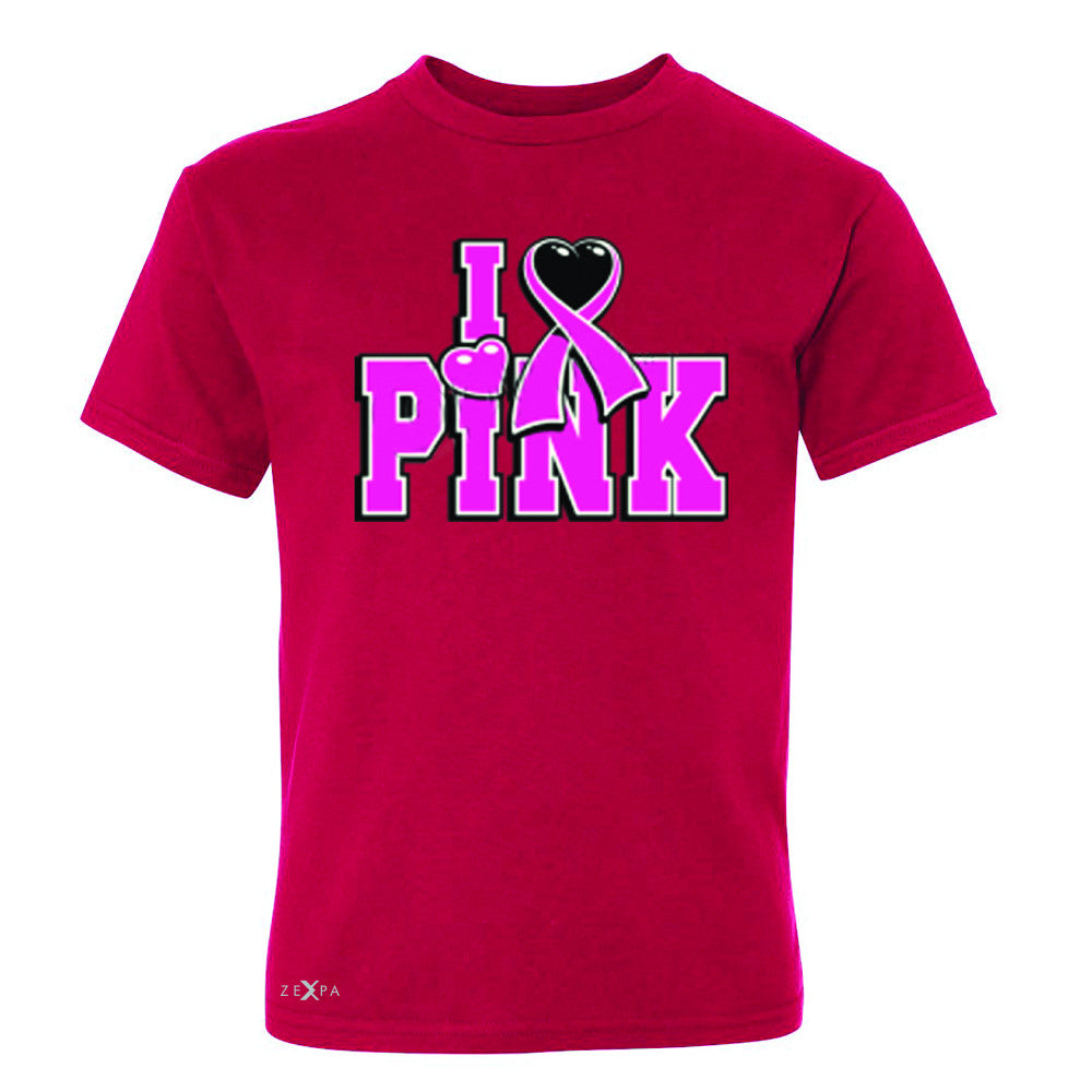 I Love Pink - Pink Heart Ribbon Youth T-shirt Breast Cancer Tee - Zexpa Apparel - 4