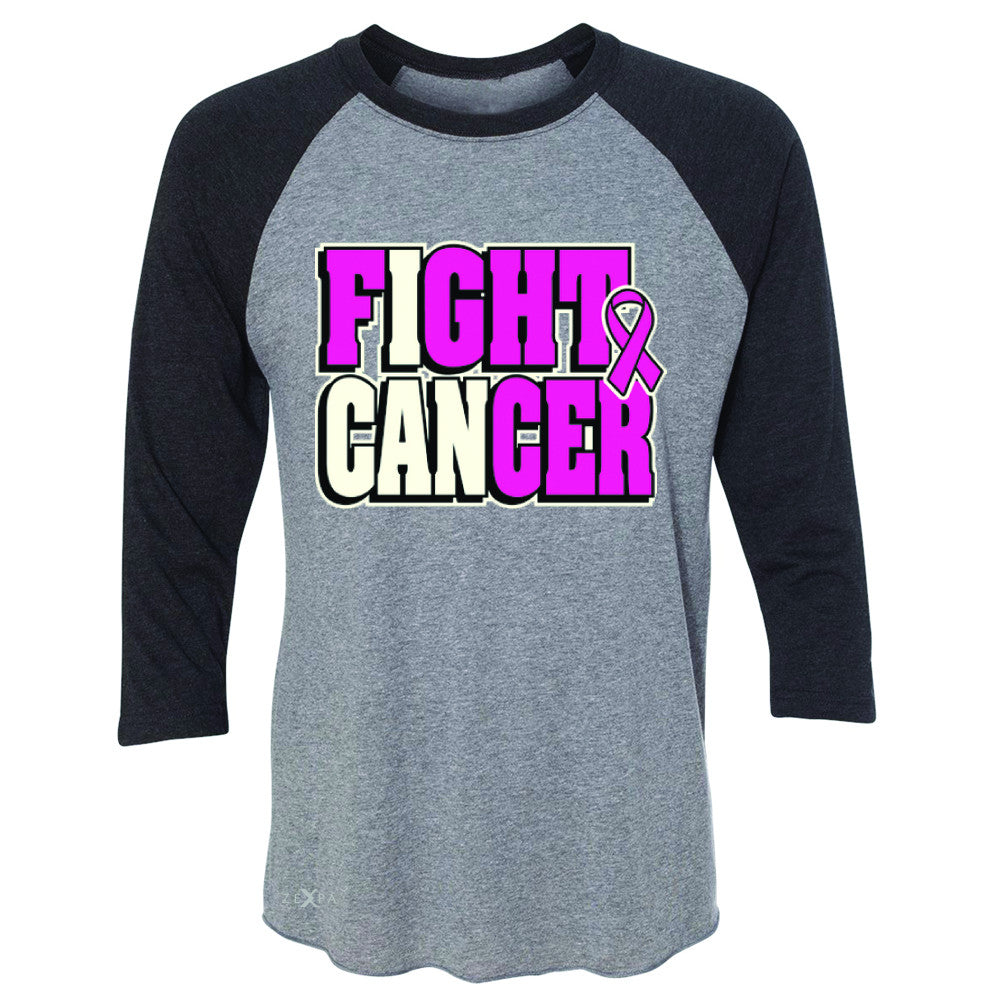 Fight Cancer I CAN 3/4 Sleevee Raglan Tee Breast Cancer Tee - Zexpa Apparel