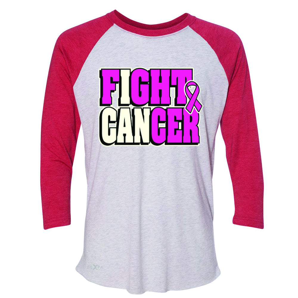 Fight Cancer I CAN 3/4 Sleevee Raglan Tee Breast Cancer Tee - Zexpa Apparel - 2