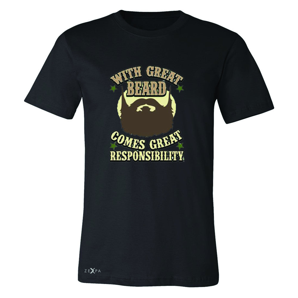 With Great Beard Comes Great Responsibility Men's T-shirt Fun Tee - Zexpa Apparel - 1