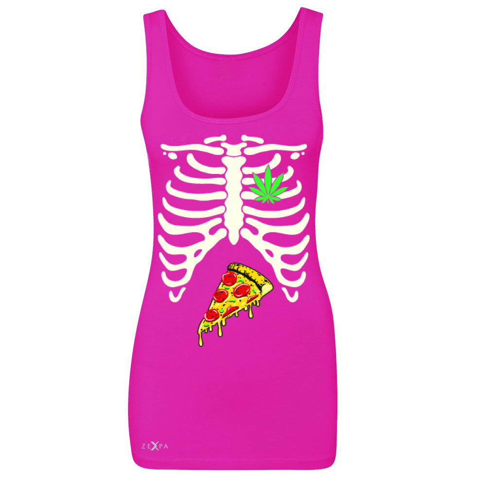 Rib Cage Weed Pizza Muchies Women's Tank Top Funny Gift Friend Sleeveless - Zexpa Apparel - 2