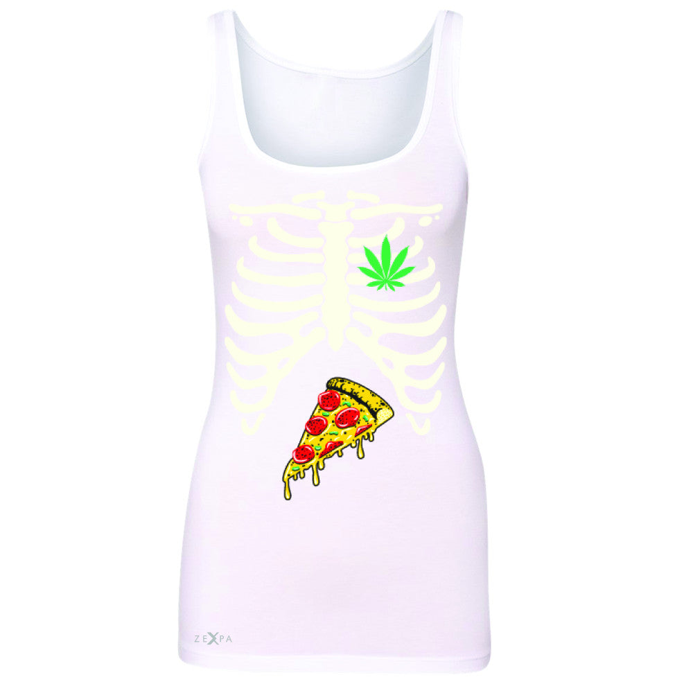 Rib Cage Weed Pizza Muchies Women's Tank Top Funny Gift Friend Sleeveless - Zexpa Apparel - 4