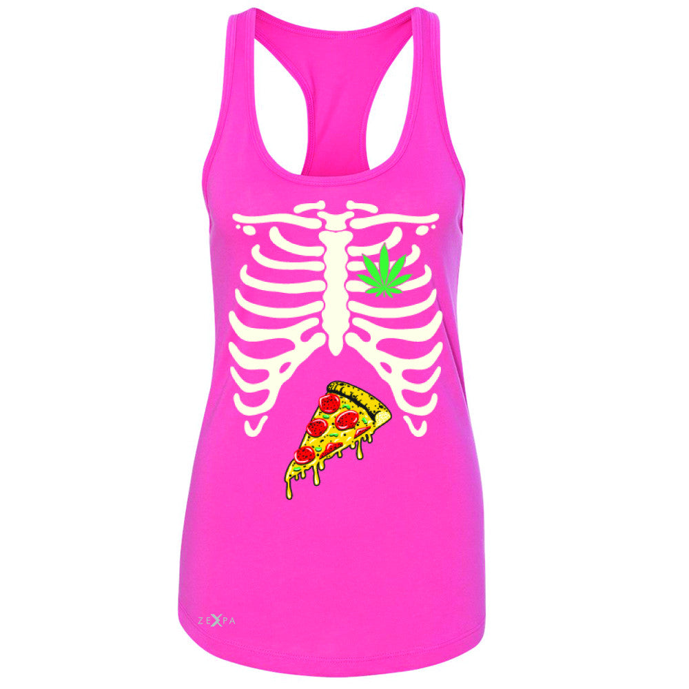 Rib Cage Weed Pizza Muchies Women's Racerback Funny Gift Friend Sleeveless - Zexpa Apparel - 2