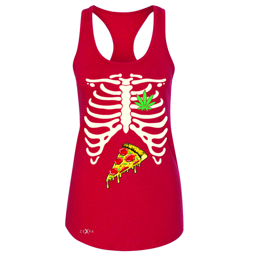 Rib Cage Weed Pizza Muchies Women's Racerback Funny Gift Friend Sleeveless - Zexpa Apparel - 3