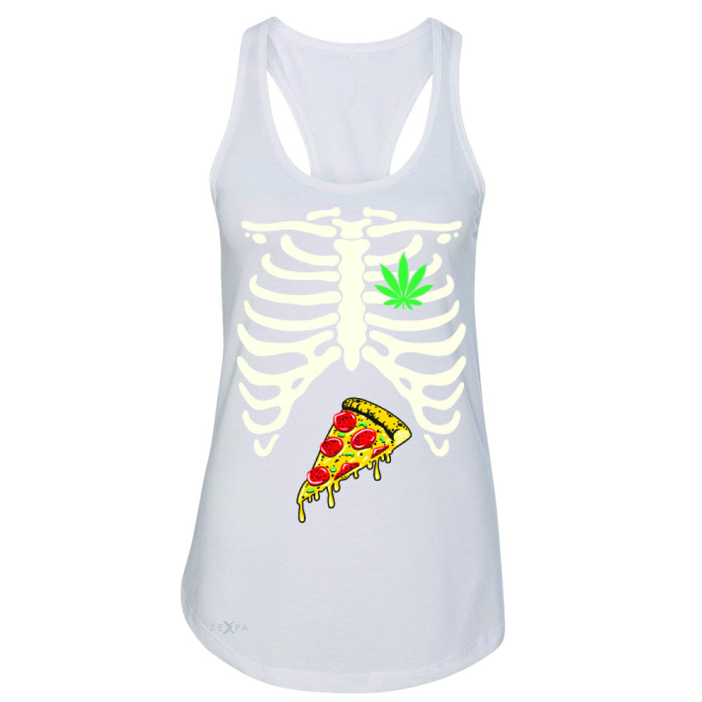 Rib Cage Weed Pizza Muchies Women's Racerback Funny Gift Friend Sleeveless - Zexpa Apparel - 4
