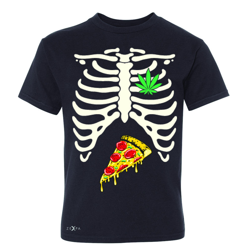 Rib Cage Weed Pizza Muchies Youth T-shirt Funny Gift Friend Tee - Zexpa Apparel - 1
