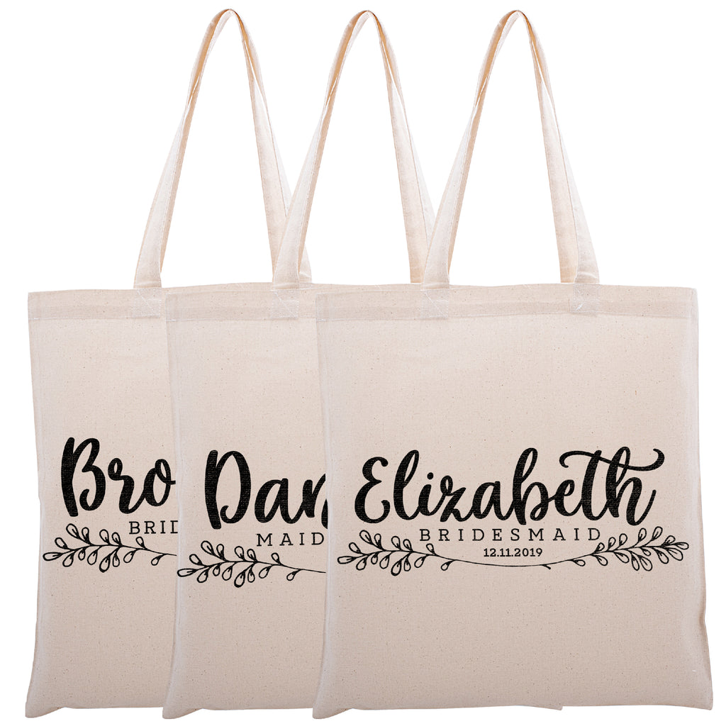 Personalized Tote Bag For Bridesmaids Wedding | Customized Bachelorette Party Bag | Baby Shower and Events Totes |Design #19