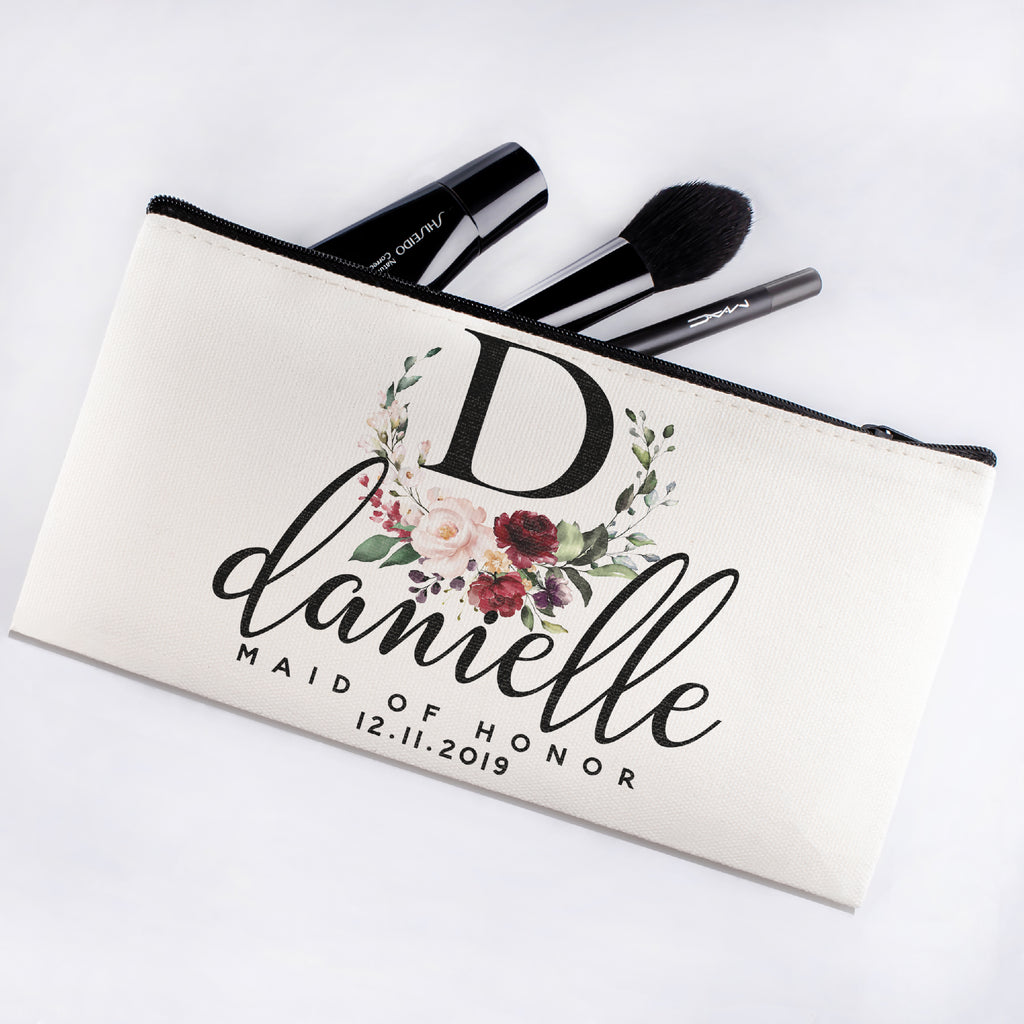 Personalized Makeup Bag Bridesmaid | Wedding Customized Pouch | Bachelorette Party Cosmetic Case |Toiletries Hndy Organizer with Zipper|Events Parties Baby Shower Anniversary Christmas Gift|Desging #2