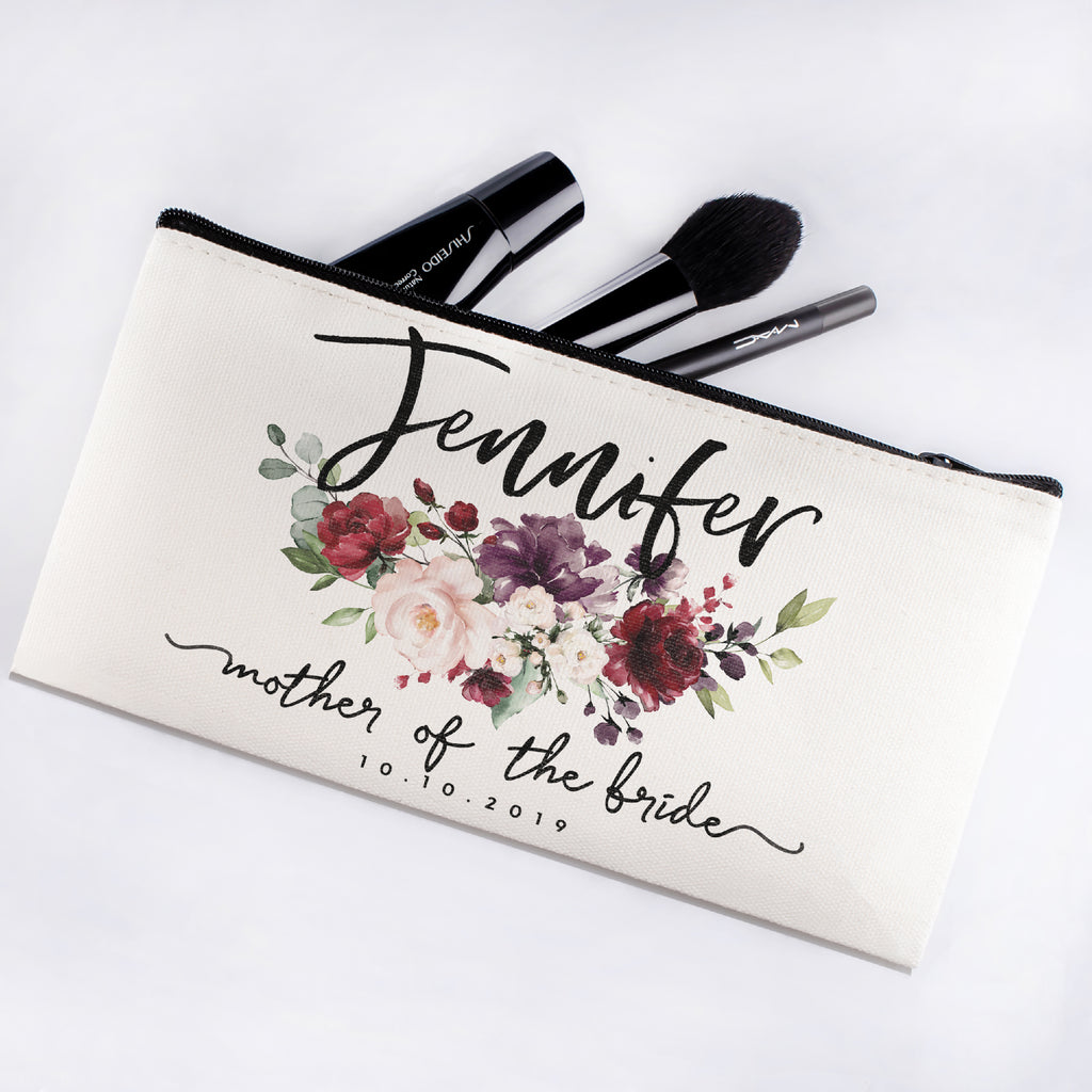 Personalized Makeup Bag Bridesmaid | Wedding Customized Pouch | Bachelorette Party Cosmetic Case |Toiletries Hndy Organizer with Zipper|Events Parties Baby Shower Anniversary Christmas Gift|Desging #6