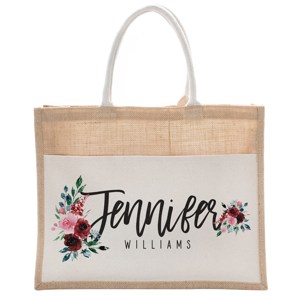Personalized Luxury Totebag | Cusomized Floral Cotton Canvas Tote Bag For Bachelorette Party Beach Workout Yoga Pilates Vacation Bridesmaid and Daily Use Totes Design #11