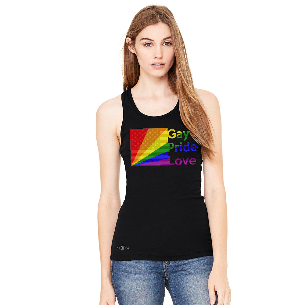 Zexpa Apparel™ American - Rainbow Flag  Gay Pride Love Women's Racerback Pride Sleeveless - Zexpa Apparel Halloween Christmas Shirts