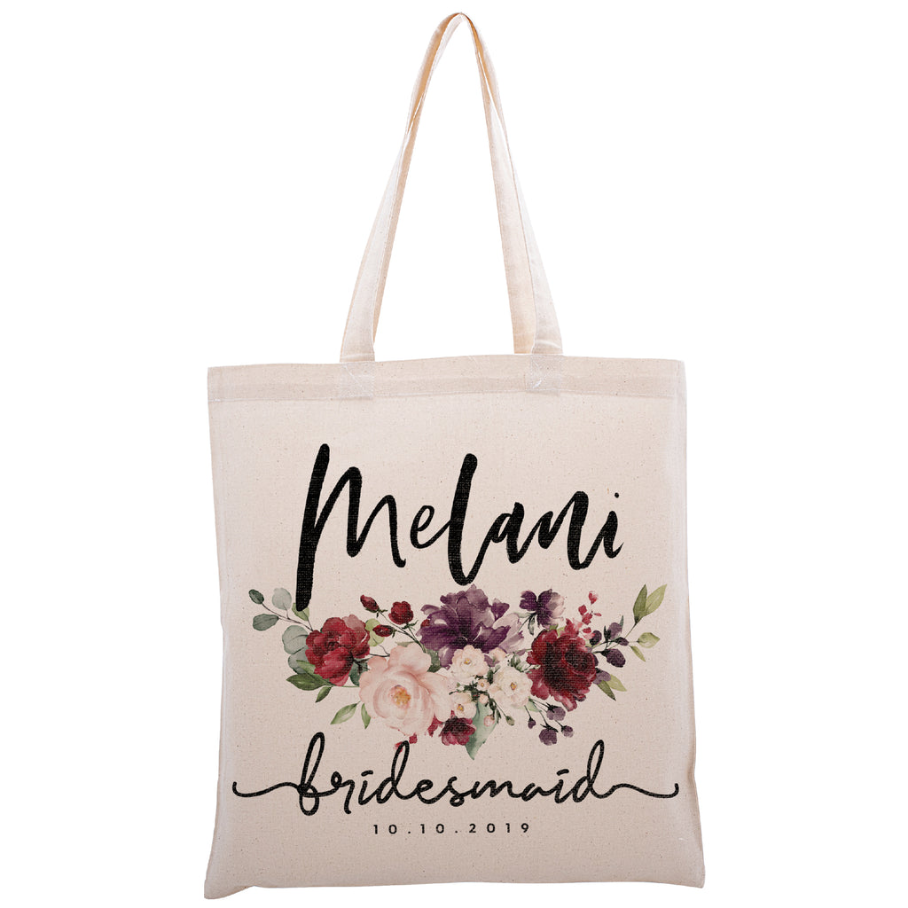 Personalized Tote Bag For Bridesmaids Wedding | Customized Bachelorette Party Bag | Baby Shower and Events Totes |Design #6