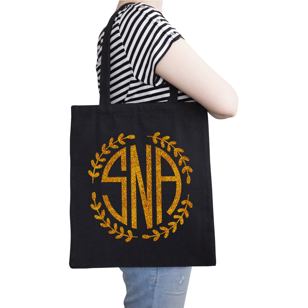 Personalized Monogram Black Tote Bag | Initial Long Handle Totes for Beach, Yoga, Gym, Workout, Pilates |Customized Baby Shower, Christmas, Bridal Gift Bags | Bachelorette Party and Events Gifts Bag