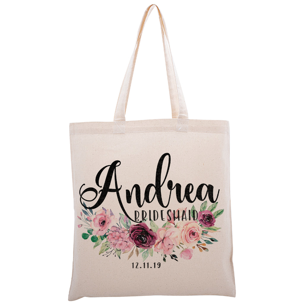 Personalized Tote Bag For Bridesmaids Wedding | Customized Bachelorette Party Bag | Baby Shower and Events Totes |Design #10