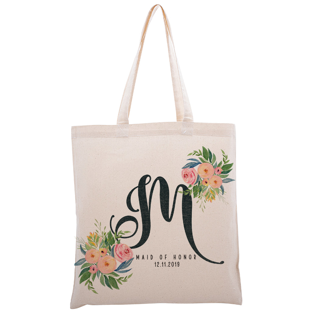 Personalized Tote Bag For Bridesmaids Wedding | Customized Bachelorette Party Bag | Baby Shower and Events Totes |Design #1