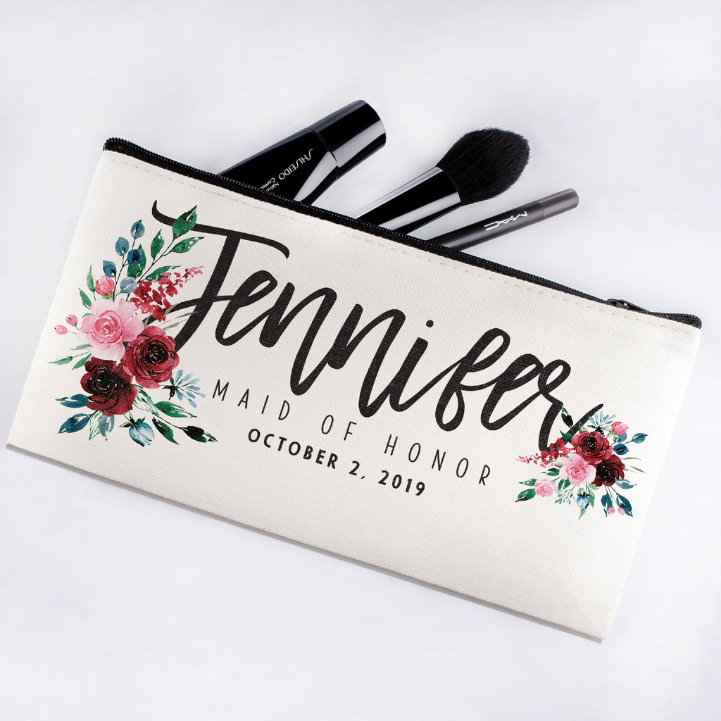 Personalized Makeup Bag Bridesmaid | Wedding Customized Pouch | Bachelorette Party Cosmetic Case |Toiletries Hndy Organizer with Zipper|Events Parties Baby Shower Anniversary Christmas Gift|Desging #11