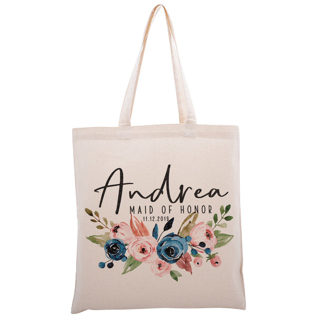 Personalized Tote Bag For Bridesmaids Wedding | Customized Bachelorette Party Bag | Baby Shower and Events Totes |Design #12