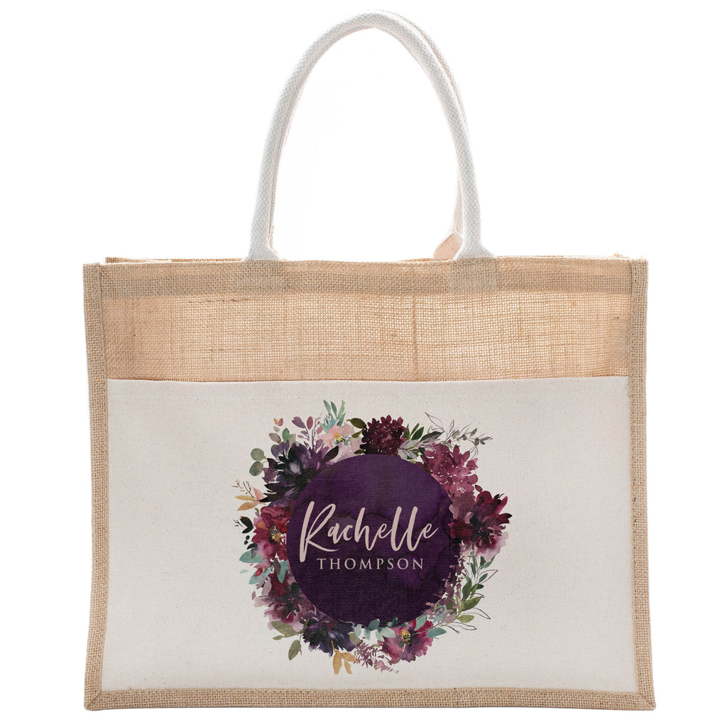 Personalized Luxury Totebag | Cusomized Floral Cotton Canvas Tote Bag For Bachelorette Party Beach Workout Yoga Pilates Vacation Bridesmaid and Daily Use Totes Design #7