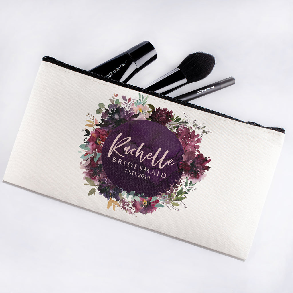 Personalized Makeup Bag Bridesmaid | Wedding Customized Pouch | Bachelorette Party Cosmetic Case |Toiletries Hndy Organizer with Zipper|Events Parties Baby Shower Anniversary Christmas Gift|Desging #7