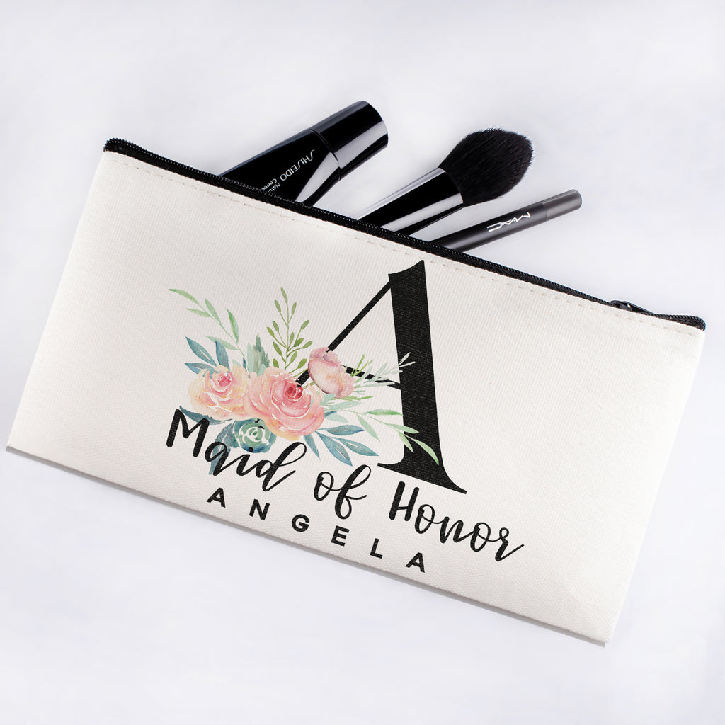 Personalized Makeup Bag Bridesmaid | Wedding Customized Pouch | Bachelorette Party Cosmetic Case |Toiletries Hndy Organizer with Zipper|Events Parties Baby Shower Anniversary Christmas Gift|Desging #4