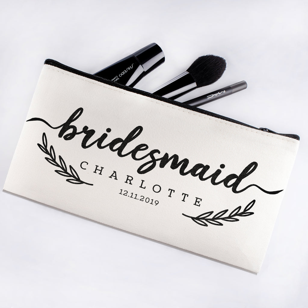 Personalized Makeup Bag Bridesmaid | Wedding Customized Pouch | Bachelorette Party Cosmetic Case |Toiletries Hndy Organizer with Zipper|Events Parties Baby Shower Anniversary Christmas Gift|Desging #13