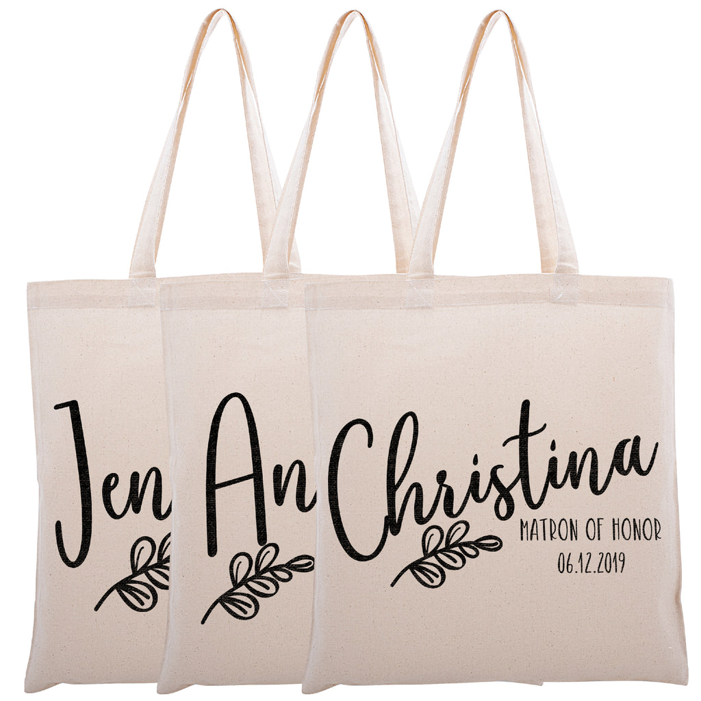 Personalized Tote Bag For Bridesmaids Wedding | Customized Bachelorette Party Bag | Baby Shower and Events Totes |Design #17